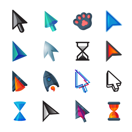 Cursor vector cursorial pointer icons of mouse arrow and hourglass illustration set of point signs.  イラスト・ベクター素材