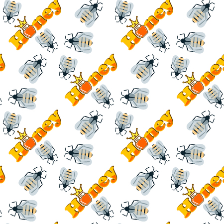 Honey bee healthy delicious natural seamless pattern background organic ingredient yellow sweet vector illustration.