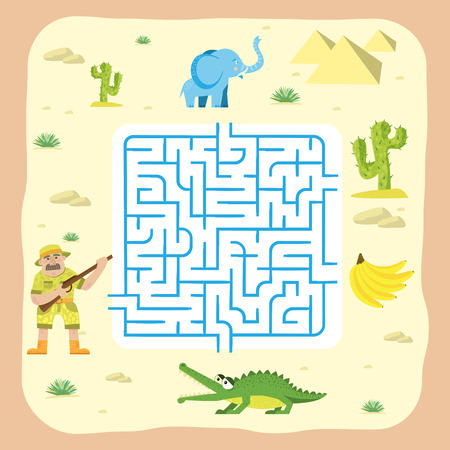 Maze game kids brain training education riddle puzzle with animals way tangled road printable background vector illustration.