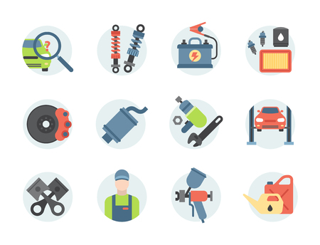 Car service parts flat vector illustration collection