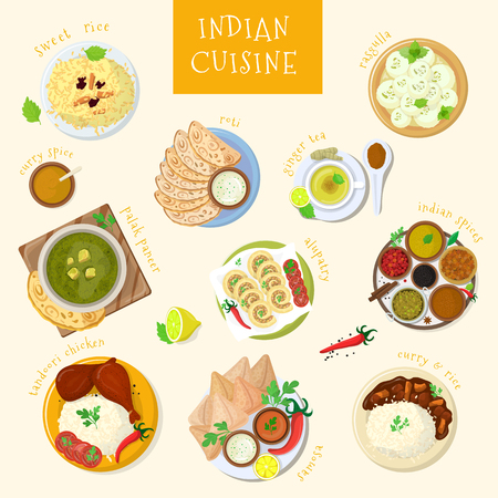 Indian food vector India cuisine and asian dishes masala with spicy rice and tandoori chicken illustration set of meal naan in bowl in Asia isolated on white background. 일러스트