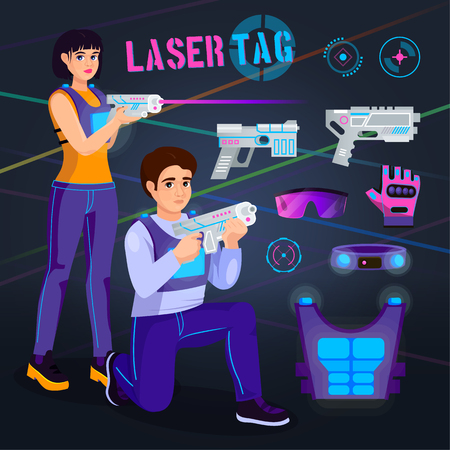 Gamer in laser tag vector player character gaming in lasertag with gun shooting in aim illustration set of people playing in gameplay with laser weapon isolated on background. Illustration