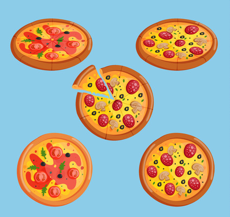 Vector pizza flat food collection isolated illustration piece slice. Pizzeria food menu product on white background, pepperoni, margarita italian pizza ingredients.