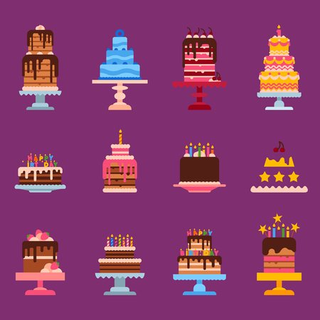 Wedding or Birthday pie cakes flat sweets dessert bakery ceremony delicious vector illustration. Tasty dessert sweet pastry pie cream traditional bakery tart. Stock Vector - 98286766
