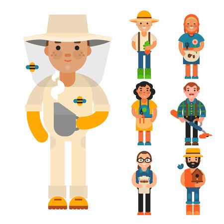Farmer character set vector illustration.