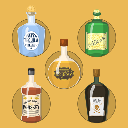 Alcohol strong drinks in bottles cartoon glasses whiskey cognac brandy wine vector illustration