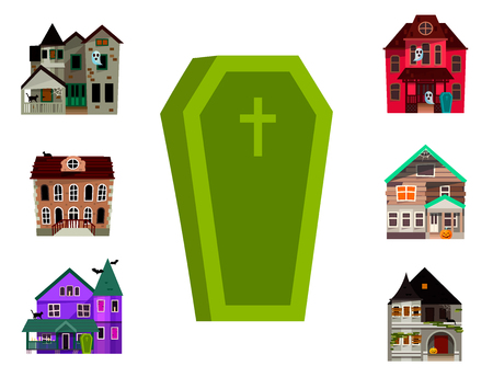 Dark mysterious obscure gloomy terrible witch castle coffin with spooky for Halloween design vector illustration Фото со стока - 98516071