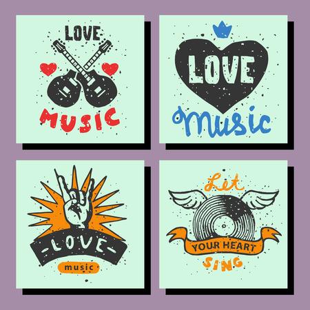 Set of vintage musical cards hand drawn templates love musical elements for design vector illustration.