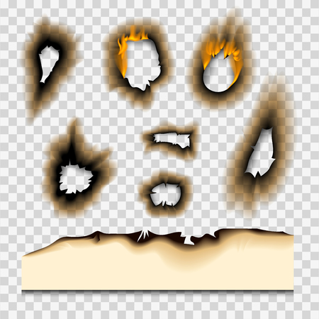 Burnt piece burned faded paper hole realistic fire flame isolated page sheet torn ash vector illustration Stock fotó - 98516075