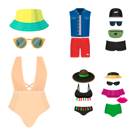 Beachwear bikini cloth fashion looks vacation lifestyle women collection sea light beauty clothes vector illustraton Reklamní fotografie