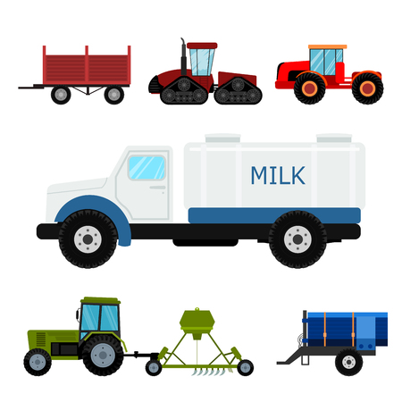 Agriculture industrial farm equipment machinery tractors combines and excavators vector illustration. Stock Photo