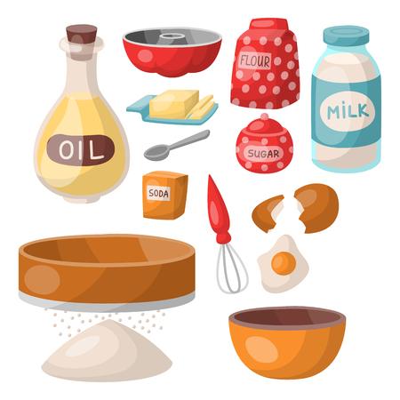 Baking pastry prepare cooking ingredients kitchen utensils homemade food preparation baker vector illustration. Standard-Bild