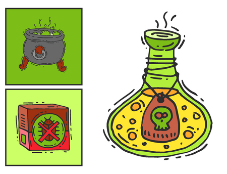 Bottle with potion game magic glass cards elixir poisoning toxic substance dangerous toxin drug container vector illustration Stock Photo