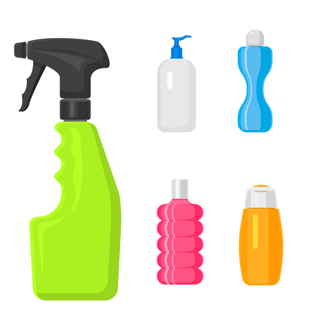 Bottles of household chemicals supplies and cleaning housework Illustration. Vettoriali