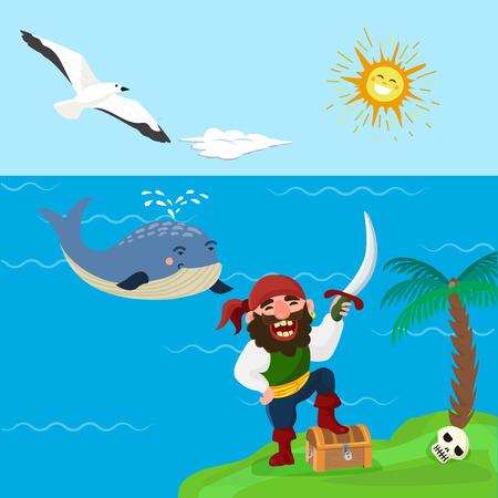 Pirate treasure vector adventure sea nautical symbols nautical character captain sailor with sword illustration. Medieval warrior jewelry piratic navigation background. Illustration