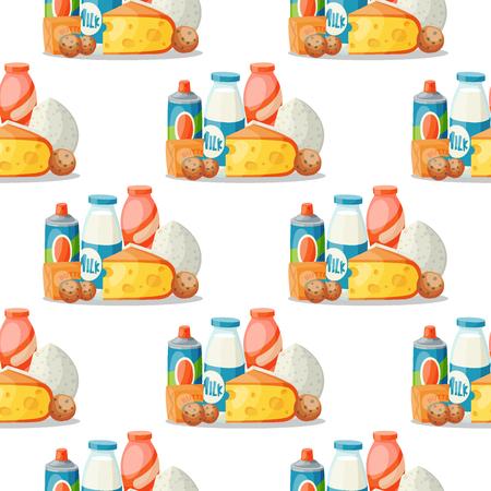 Milk dairy products vector flat style breakfast gourmet organic meal fresh diet food milky drink ingredient nutrition seamless pattern background illustration. Çizim