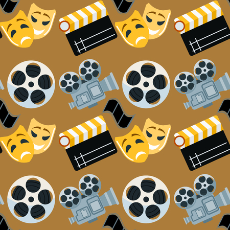 Cinema genre cinematography seamless pattern background flat entertainment movie production vector illustration.