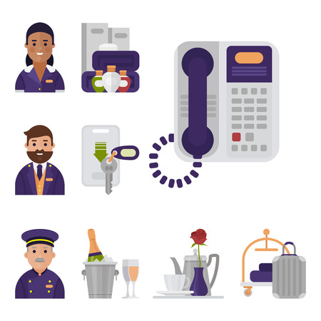 Hotel personnel collection in cartoon illustration. Illustration