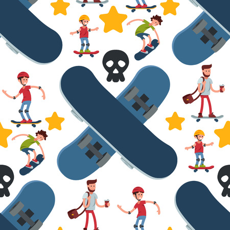 Skateboarders people tricks silhouettes sport seamless pattern background extreme action active skateboarding urban young jump person vector illustration. Illustration