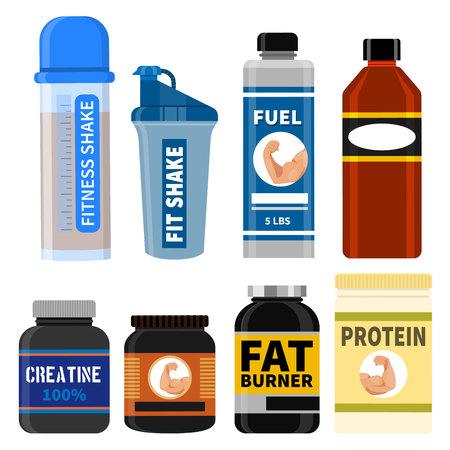 Athlete supplements concept graphic design elements.
