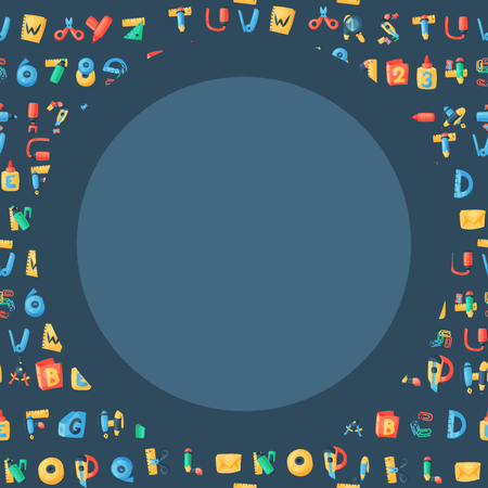 Alphabet stationery letters vector abc font alphabetic icons isolated on white background illustration