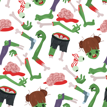 Colorful zombie scary cartoon halloween magic people body fun seamless pattern background green character part monsters vector illustration. Horror zombie people. Illustration