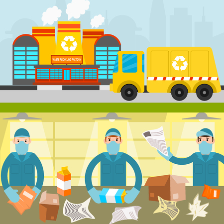 Waste recycling garbage process factory concept illustration. Illustration
