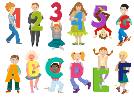 Kids alphabet vector children with cartoon font and boy or girl character holding alphabetic letter or number illustration alphabetically set of abc childish lettering isolated on white background