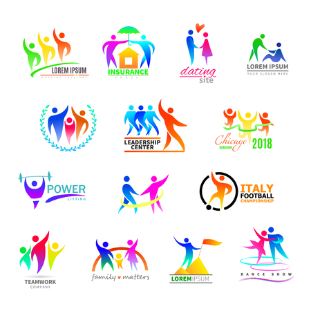 Abstract people icon vector person sign on logo of teamwork in business company or fitness logotype with sportsman winner and silhouette of lovely family illustration set isolated on white background Çizim