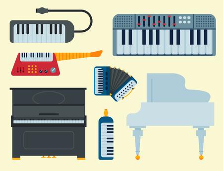 隔離されたキーボードの音楽ベクトル楽器のセット。 写真素材 - 99122581