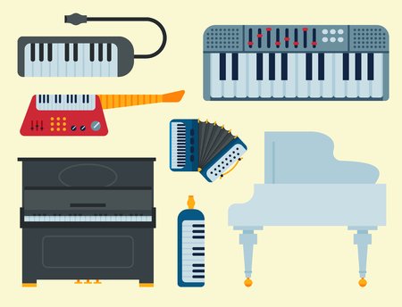 A set of keyboard musical vector instruments isolated. Çizim