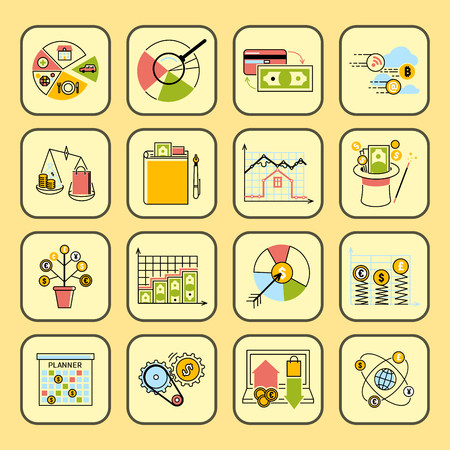 Banking money financial services set credit sign. development finance accumulation bank management vector illustration.