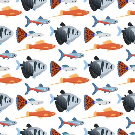 Exotic tropical aquarium fish in different colors. underwater ocean species aquatic nature flat vector illustration.