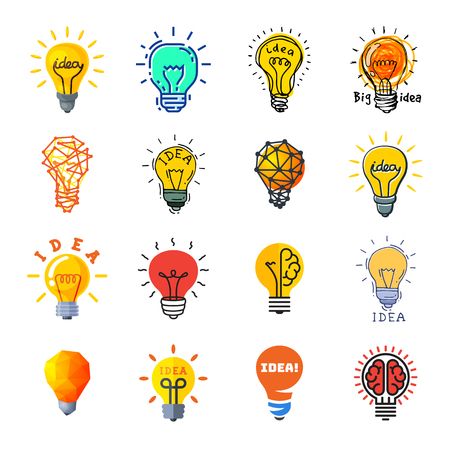 Bulb idea vector. light bulb icon of brainstorming ideas and electric lighting energy lamp illustration. set of business ideal brain isolated on white background