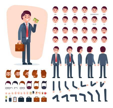 Businessman hairstyle head and face emotions illustration set of mans body with hands legs isolated on white background