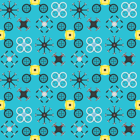 Vector illustration aerial vehicle drone seamless pattern background