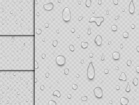 Realistic vector water drops liquid transparent raindrop splash background illustration