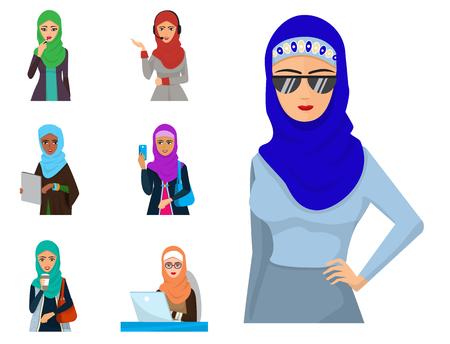 Arabic woman adult character Arabian Asia nationality islamic girl face in hijab vector illustration