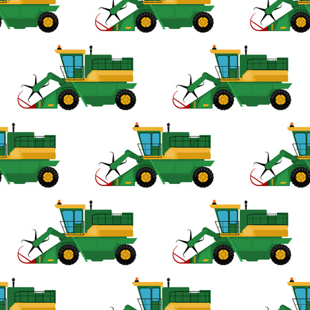 Agriculture industrial farm equipment seamless pattern background machinery tractors combines and excavators vector illustration. Combine harvester farming work vector. Vettoriali
