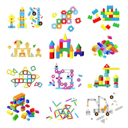 Kids building blocks vector baby toy colorful bricks to build or construct cute color construction in childroom illustration set of children blocks games isolated on white background Çizim