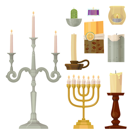 Celebration glowing religion candles birthday traditional decoration. Romance night bright flame. Meditation memorial burning object vector illustration.