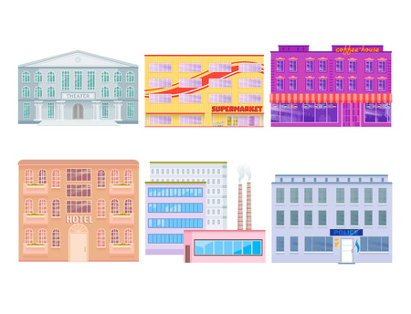 City public buildings houses flat design office architecture modern street apartment vector illustration. Stock Illustratie