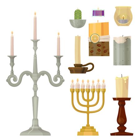 Celebration glowing religion candles birthday traditional decoration romance night bright burning object vector illustration. Illustration