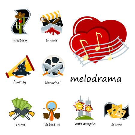 Set of cinema element icons. Illustration