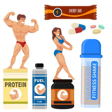 Bodybuilders with various supplements vector illustration. Illusztráció