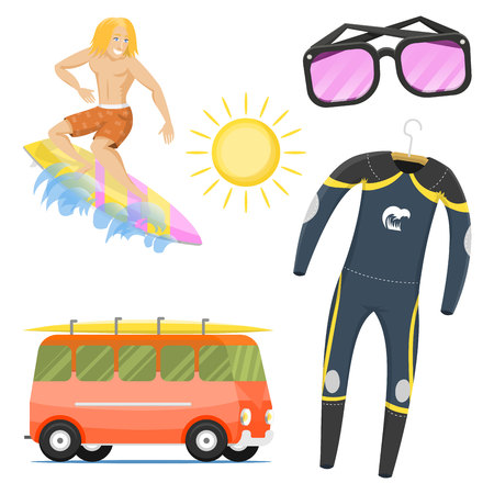 Water sports and summertime icon set.