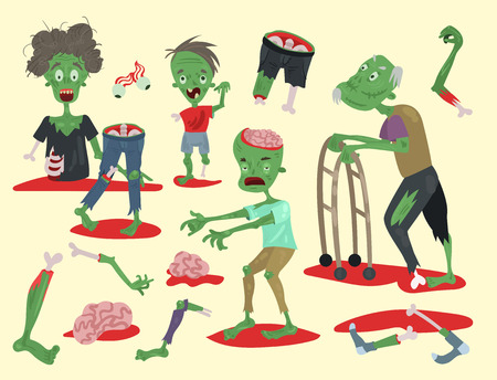 Set of colorful zombie scary cartoon illustration. Stock Illustratie