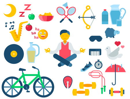 Health and longevity icons modern activity durability vector natural healthy life product food nutrition illustration Çizim