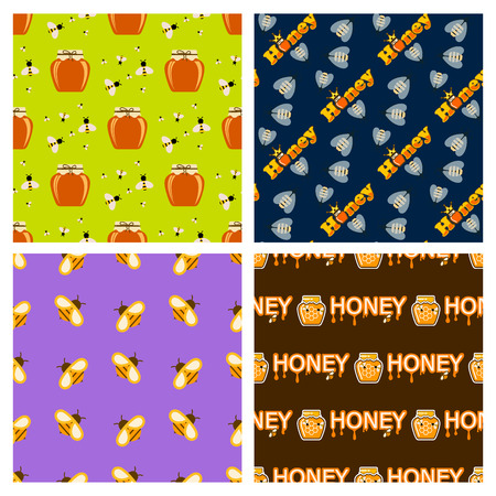 Honey jar food glass healthy delicious natural seamless pattern background organic ingredient yellow sweet vector illustration. Golden liquid product pot dessert nutrition tasty sticky sugar. Illustration