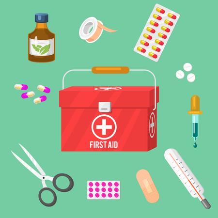 Medical instruments and doctor tools medicament in cartoon style medication hospital health treatment vector illustration. Ilustração